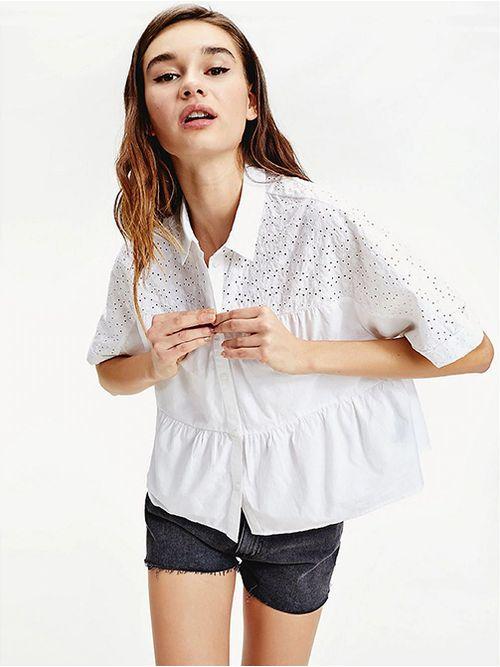 Blusa-fruncida-con-diseño-calado-Tommy-Hilfiger