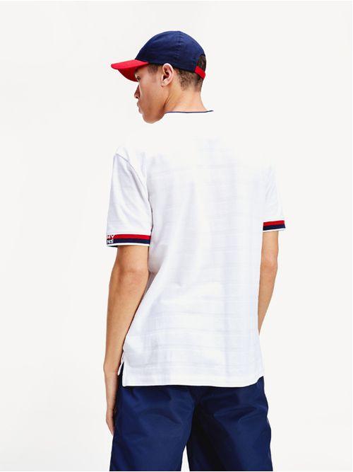 Polo-de-puro-algodon-con-cuello-estilo-beisbol-Tommy-Hilfiger